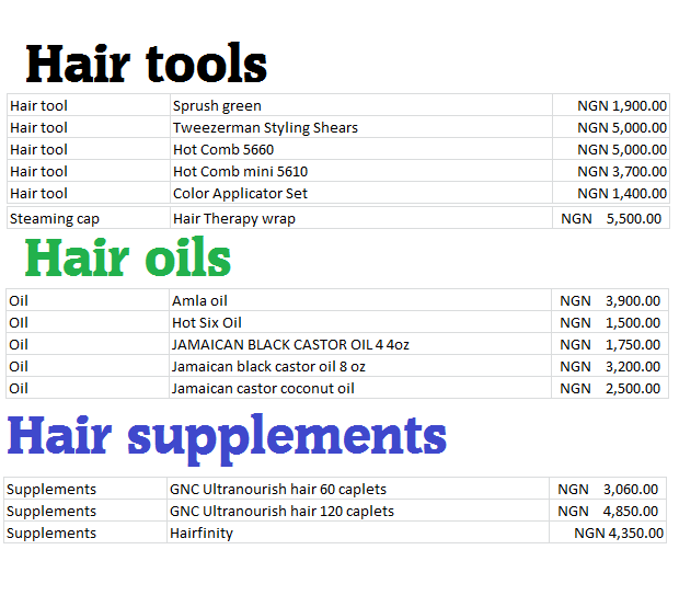 Hair tools, oils, supplements Sizzelle