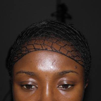 Fish net over wrapped hair