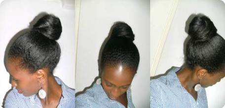 Bun on air dried hair fave protective style (Joanne Grow African Hair Long)