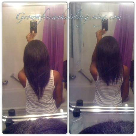 My hair before and after trim Jan 30 2013 (Joanne Grow African hair long)