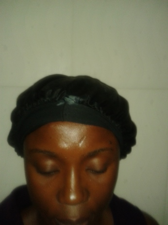 night time routine for relaxed hair satin bonnet